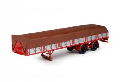 T.B.P. vlakke trailer met afgedekte lading